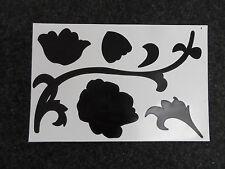 3 x fleur Sticker Mural Ornement AUTOCOLLANT Papier peint photo Tableau NEUF