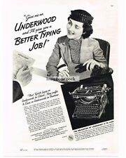1937 UNDERWOOD Typewriters Secretary Job Interview wants Underwood Vtg Print AD