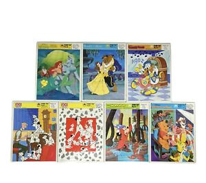 Vintage Lot of 7 Golden Frame Tray Puzzles Walt Disney Mickey Mouse Donald Duck