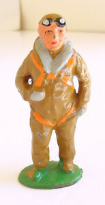 """1930s BARCLAY MANOIL LEAD PILOT IN JUMPSUIT & GOGGLES TOY SOLDIER 3"""""""