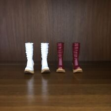 2 Pairs of My Scene Barbie Doll high heel boots (red and white)