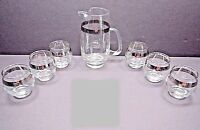 Mid Century Hand Blown Silver Band Juice Pitcher Roly Polys Glasses Serving Set