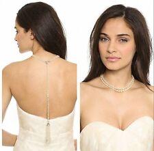 Costume Statement Necklace Back Silver Long Fringe Pearl Wedding Bridal JD 3