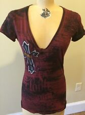 "Ladies Sinful V-Neck Tee Shirt ""Lots Of rhinestones"" Size Small"