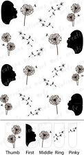 """20 Nail Decals *WISHING UPON A DANDELION""""  Flower Water Slide Nail Art Decals"""