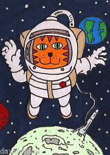Venne Canvas Giclee ACEO Print- Cat in Space
