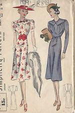 1939 Vintage Näh Muster B34 Kleid (r893)