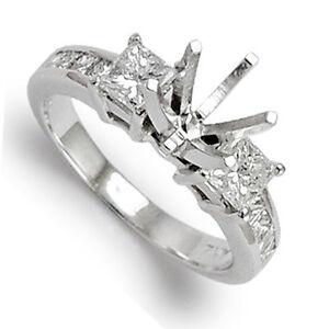14k White Gold Princess Diamond Engagement Ring Setting