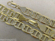 Men's 13mm Wide Mariner Link Necklace Bracelet Set Yellow Gold Plated 30in Inch