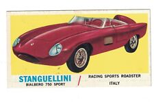 1961 Topps Sports Cars Card #35 STANGUELLINI Bialbero 750 Sport