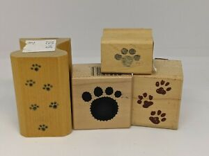 4 Animal Paw Prints  Rubber Stamps   Wood Mounted