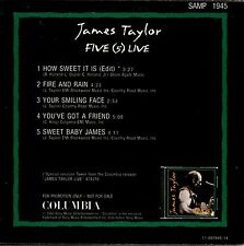 JAMES TAYLOR five (5) live CD PROMO cardboard sleeve