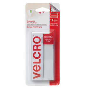 12pc Velcro Brand Removable Mounting Strips, Double Sided Tape Velcro Strips