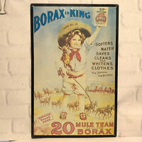 Vintage Borax is King 20 Mule Team Dry Soap Embossed Tin Sign 11 x 17