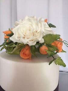 Ivory/Orange Sugar Rose Flower Cake topper