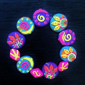 Boho Hippie Bracelet UV-BLACKLIGHT Neon Tribal Psychedelic Festival Goa Jewelry