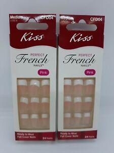 2 Packs Kiss Medium Length CFD04 Perfect French Nails Pink 24 Nails Per Pack