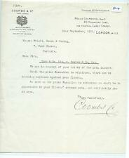 EPHEMERA - 364 - COOMBS & CO, LONDON - AUCTIONEERS & SHERIFF - LETTER - SEP 1925