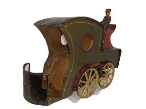 1890's Dayton Clark Hillclimber Flywheel Horseless Carriage Tin Wood Toy Taxi