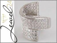 SARAH KERN Ring echt Silber 925 Sterling rhodiniert mit Zirkonia pave 54/17,2MM
