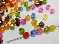 1000 Mixed Colour Transparent Acrylic Faceted Bicone Beads 4X4mm Spacer