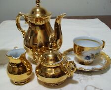 Stw Bavarian 24k over PorcelainTeapot Set Creamer, Sugar Bowl, Cup/Saucer Mint!
