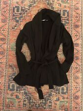 Groceries Apparel Black Organic Cotton Wrap with Belt Casual Sweatshirt Jacket