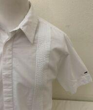 Tommy Hilfiger Denim Men's White Ruffed Front Short Sleeved Cotton Shirt - XL