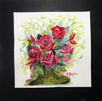 """MARIA MURGIA - """"Fiori"""" -  PEZZO UNICO SU CARTONCINO cm 29,5x29,5 + PASS cm 40x40"""
