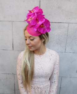 Hot Pink Orchid Flower Sinamay Fascinator Pillbox Hat Hair Clip Wedding 5167