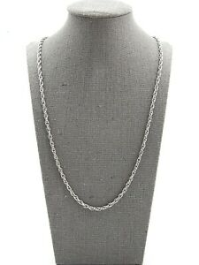 Whiting Davis Vintage Signed Silver Toned Interlocking Circles Chain Necklace