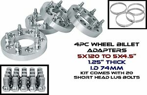 """4 BMW 5x120 MM TO 5x4.5"""" 1.25"""" THICK WHEEL SPACERS ADAPTERS CHANGES LUG PATTERN"""