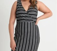 New Ex Dorothy Perkins Plussize BLACK WHITE Striped Shift Dress Size 18-28