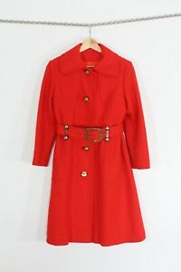 VTG 60s Red Metal Belt Loops Gold Buttons Retro Chic Trench Coat Jacket XS/S