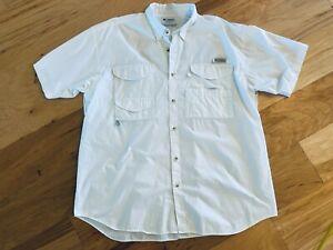 Nice! Solid White COLUMBIA PFG vented s/s Fishing Shirt XXL