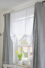 Gardine Vorhang Set 100x250 cm 2 Stück Curtain Shabby Landhaus Franske Grau Weiß