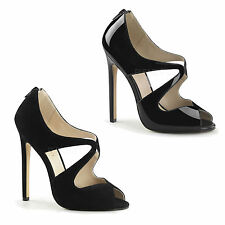 PLEASER - Sexy-12 Elegant Peep-Toe Sandals With Waving Straps In Patent Or Suede