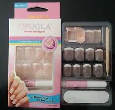 24 FAUX ONGLES FRENCH MANUCURE ROSE CLAIR EFFET NATUREL AVEC TUBE COLLE + LIME