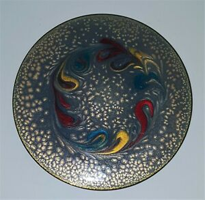 MCM Mid Century Modern Vintage Abstract ENAMEL ON COPPER PLATE #954