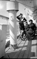 Women on the Bridge a Boat - 2 Antique Negative Photo An. 1930