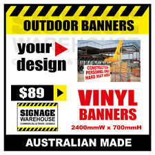 Custom Outdoor Vinyl Banner Sign  - 2400mmW x 700mmH Signage Warehouse