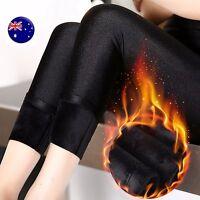 Women Warm Black Fleece Velvet Thick thermal Shine sleek Winter Pants Leggings