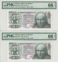 Two Consecutive Gem UNC PMG 66 EPQ Mexico 10 Pesos Banknotes 1975 Pick 63h