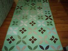 Vintage-Green Flower Quilt- (93 X 56 Inches)