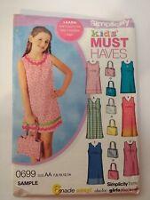 Simplicity 0699 Size 7-14 Girls' Girls' Plus Dress in 2 Lengths Purse