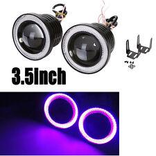 "3.5"" Car Projector Lens LED Fog Light w/ Pink Purple Halo Angel Eyes Ring DRL"