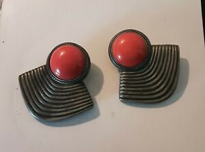 Large Pewter And Cabochon Coral Colored Signed Ben Amun Earrings