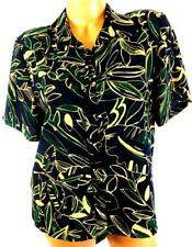Pendleton blue green foliage short sleeve folded collar plus button down top 14