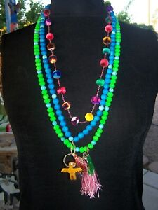 Boho Neon Turquoise Southwestern Charm Necklace Set~Chelsea Collette Collection