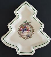 "Pfaltzgraff Holly Joy Christmas Tree Shaped Plate Serving Platter 10 1/2"" Dish"